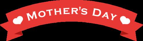 母の日のリボンイラスト(赤:アーチ型)