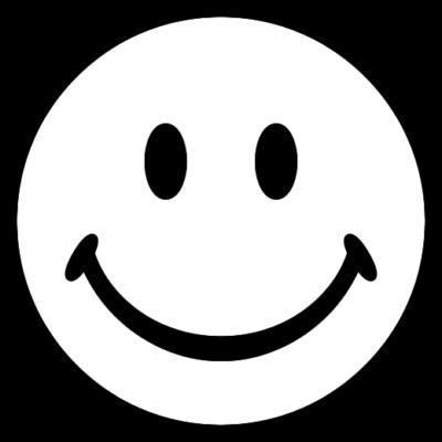 ニコちゃんマーク(スマイル)の白黒イラストアイコン