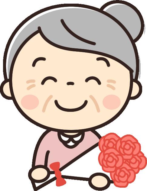 花束をもらう可愛いおばあちゃんのイラスト イラストストック