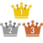 王冠のランキング・順位イラスト素材(1位・2位・3位)