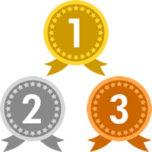 メダルのランキング・順位イラスト素材(1位・2位・3位)