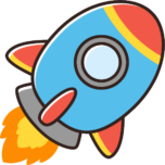 かわいいロケットのイラスト