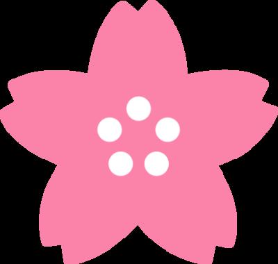 桜の花のイラスト(濃いピンク色)