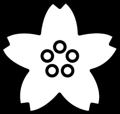 桜の花の白黒イラスト
