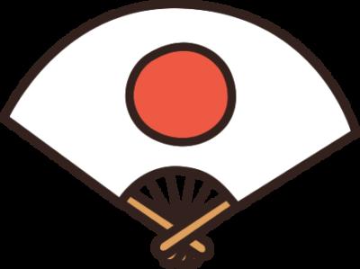 日の丸柄の扇子のイラスト