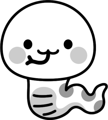可愛いヘビの白黒イラスト