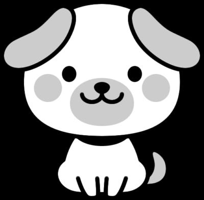可愛いイヌの白黒イラスト