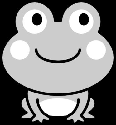 可愛いカエルの白黒イラスト