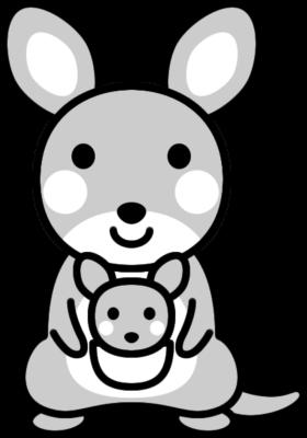 可愛いカンガルーの白黒イラスト