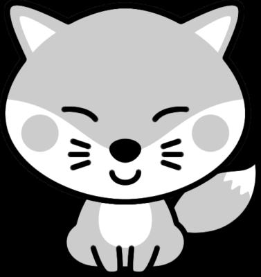 可愛いキツネの白黒イラスト
