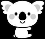 可愛いコアラの白黒イラスト