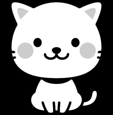 可愛いネコの白黒イラスト