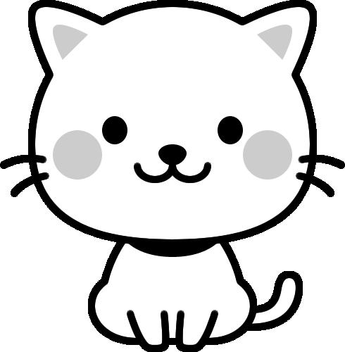 可愛いネコの白黒イラスト イラストストック
