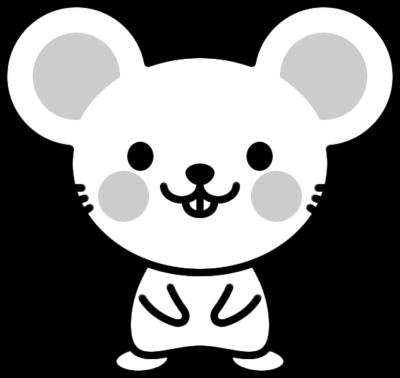 可愛いネズミの白黒イラスト