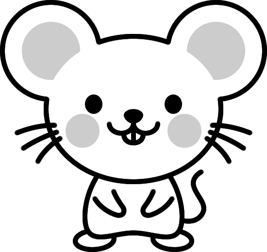 可愛いネズミの白黒イラスト イラストストック