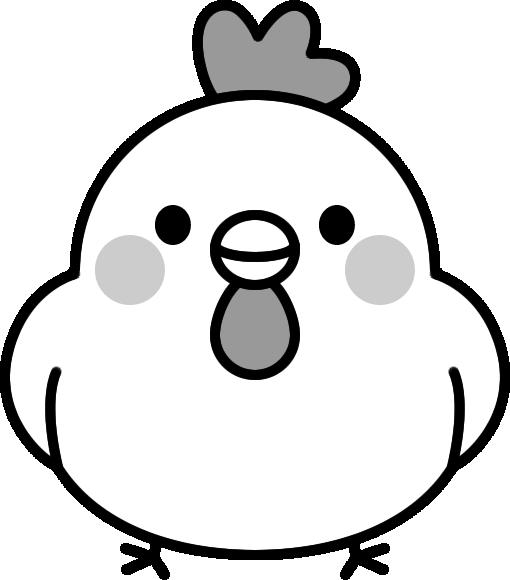 可愛いニワトリの白黒イラスト イラストストック