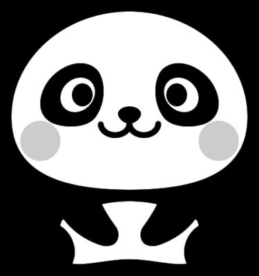 可愛いパンダの白黒イラスト