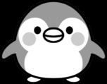 可愛いペンギンの白黒イラスト