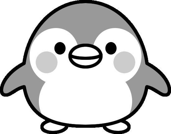 可愛いペンギンの白黒イラスト イラストストック