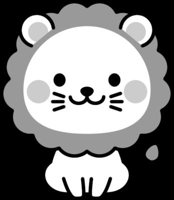 可愛いライオンの白黒イラスト