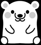 可愛い白熊の白黒イラスト