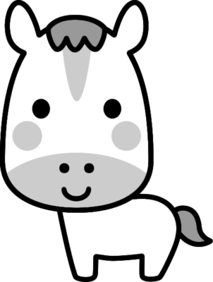 可愛い馬の白黒イラスト