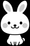 可愛いウサギの白黒イラスト