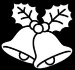 クリスマスベルの白黒イラスト
