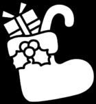 クリスマスブーツの白黒イラスト