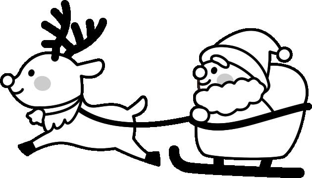 ソリに乗ったサンタクロースの白黒イラスト イラストストック