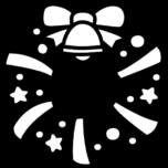 クリスマスリースの白黒イラスト