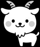 可愛いヤギの白黒イラスト