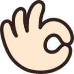指でOKサインをする手のイラスト