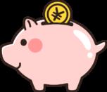 かわいい豚さんの貯金箱のイラスト