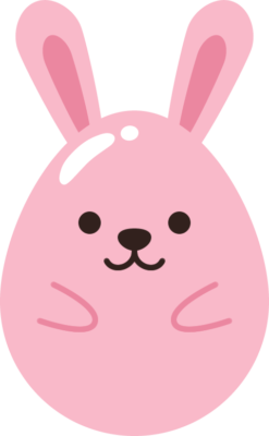 たまご型のウサギのイラスト
