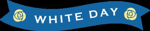 ホワイトデーのリボンイラスト(青色:波型)