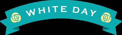 ホワイトデーのリボンイラスト(ターコイズブルー:アーチ型)
