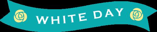 ホワイトデーのリボンイラスト(ターコイズブルー:波型)
