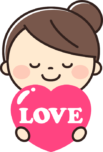 愛を伝える可愛い女の子のイラスト