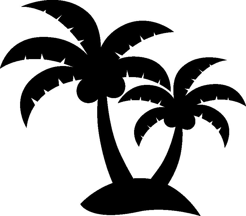 ヤシの木のモノクロシルエットイラスト イラストストック